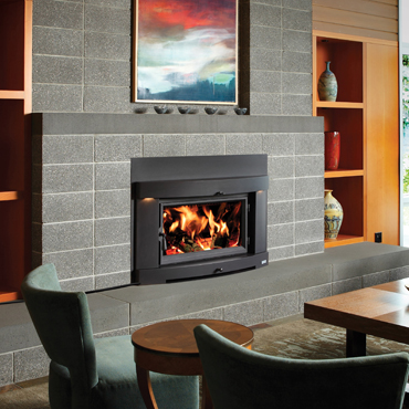 Flush Hybrid Fyre Dunrite Chimney Centereach New York: contemporary wood burning fireplace inserts