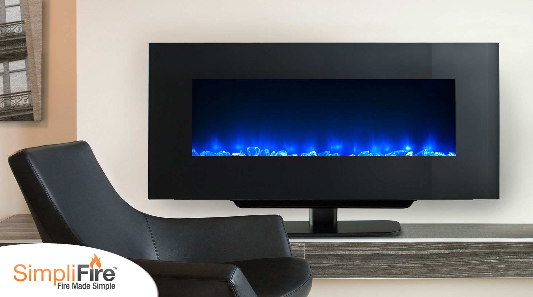 Classic flame belmont 60 quot tv stand with electric fireplace - Simplifire Wall Mount Electric Fireplaces