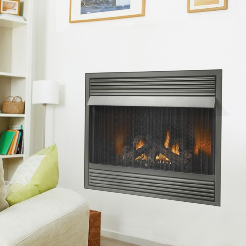 "Massive viewing area. A stunning 42"" vent free fireplace with realistic PHAZER® logs and flames that fill the impressive firebox. With the ease of vent free technology"